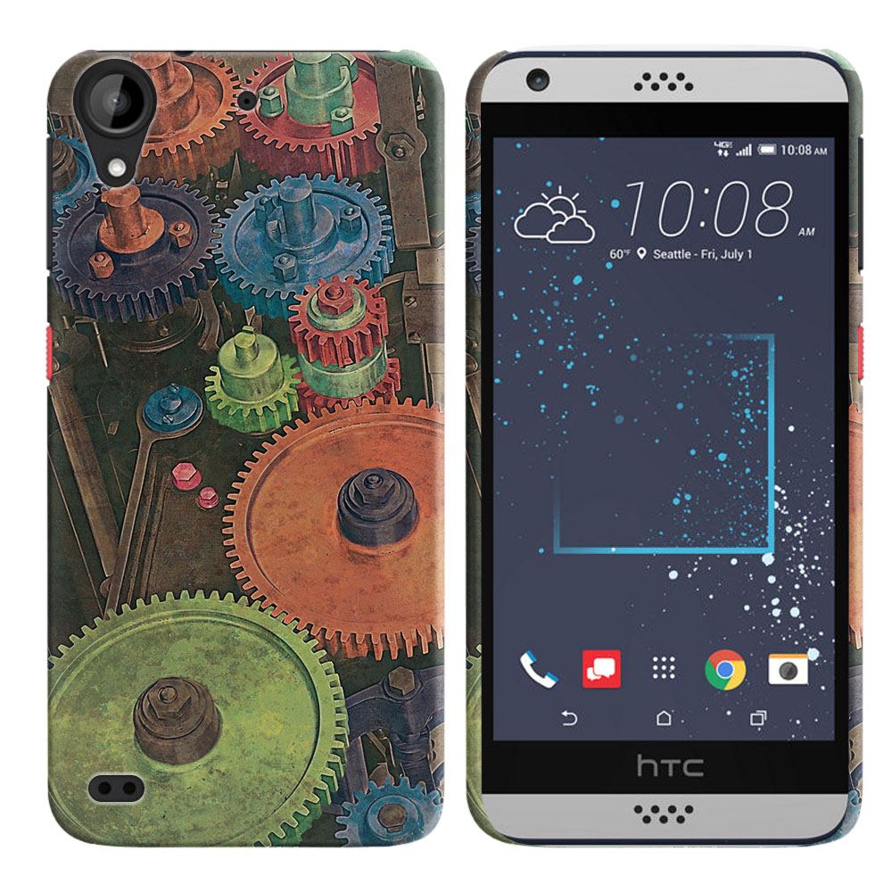 HTC Desire 530 630 Vintage Colorful Gears Back Cover Case