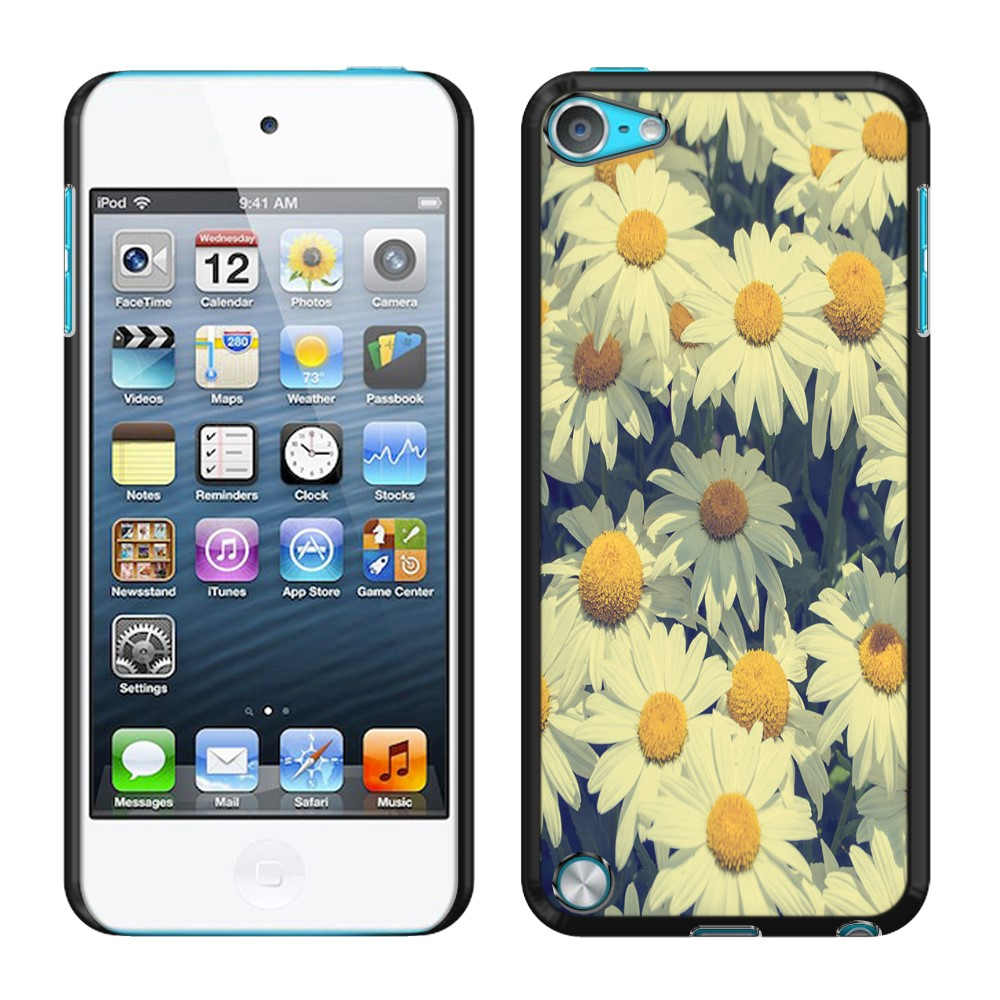 Apple iPod Touch 5 (5th Generation) iPod Touch 6 (6th Generation) Vintage Retro Daisy Flowers Daisies SLIM FIT Back Cover Case