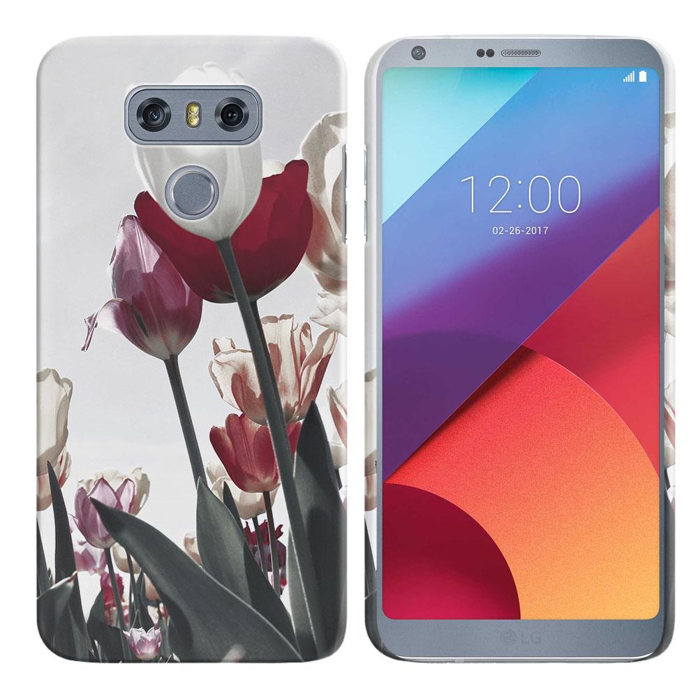 LG G6 H870 H871 H872 US997 LS993 VS998 AS993 Vintage Retro Red White Tulips Back Cover Case