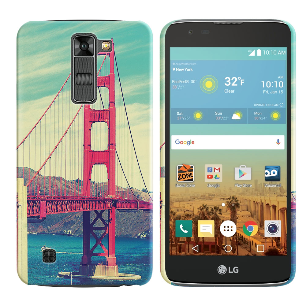 LG K7 Tribute 5 LS675 MS330 M1 Treasure L51AL L51VL L52AL L52VL Vintage Retro Golden Gate Bridge Back Cover Case