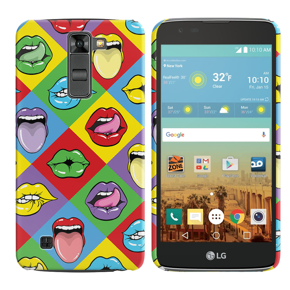 LG K7 Tribute 5 LS675 MS330 M1 Treasure L51AL L51VL L52AL L52VL Pop Art Colored Square Lips Back Cover Case