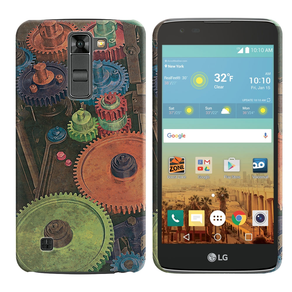 LG K7 Tribute 5 LS675 MS330 M1 Treasure L51AL L51VL L52AL L52VL Vintage Colorful Gears Back Cover Case