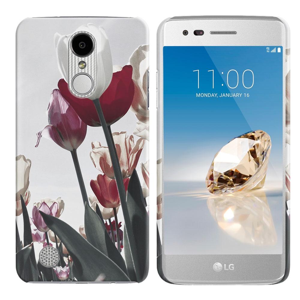 LG Aristo MS210 LV3 K8 (2017) Phoenix 3 M150 Fortune Vintage Retro Red White Tulips Back Cover Case
