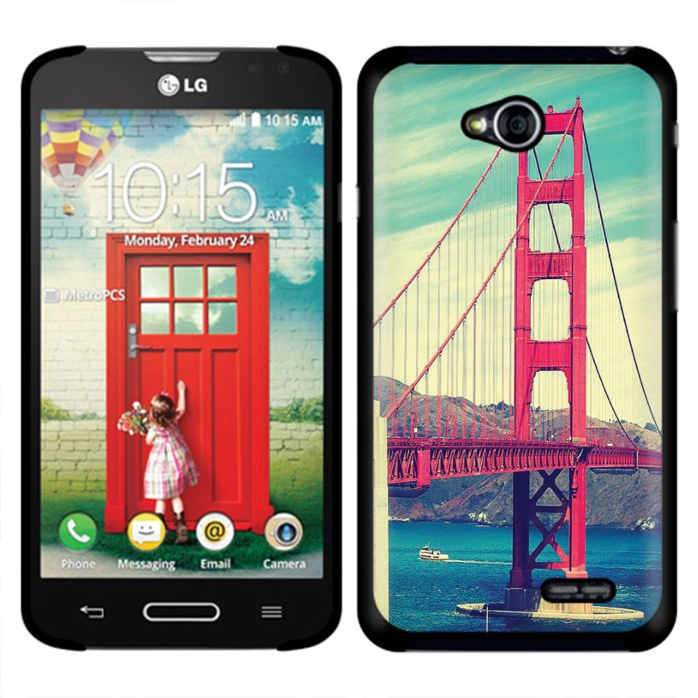 LG Optimus L70 MS323 Vintage Retro Golden Gate Bridge SLIM FIT Back Cover Case