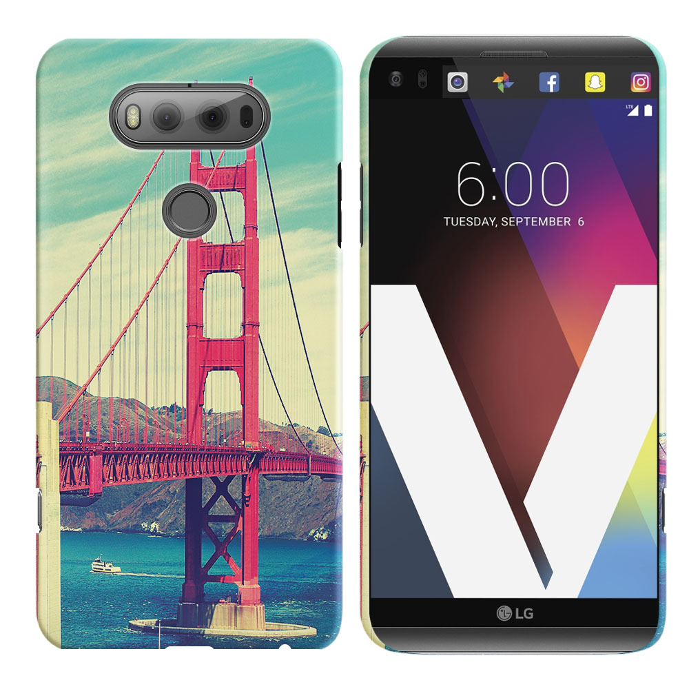 LG V20 VS995 H990 LS997 H910 H918 US996 Vintage Retro Golden Gate Bridge Back Cover Case