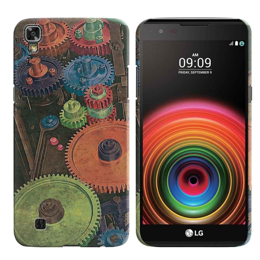 LG X Power K450 US610 LS755 K210 K6 K6P K220 Vintage Colorful Gears Back Cover Case