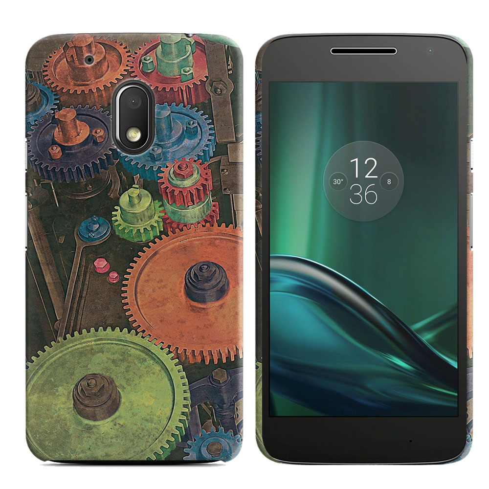 Motorola Moto G4 Play 5 inch XT1607 XT1609 Vintage Colorful Gears Back Cover Case