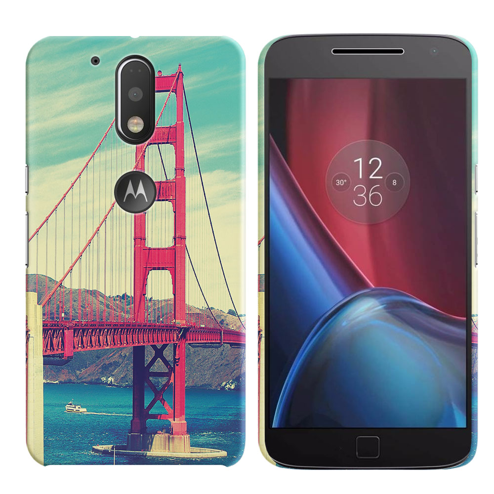 Motorola Moto G4/ G4 Plus 5.5 inch XT1625 XT1644 Vintage Retro Golden Gate Bridge Back Cover Case