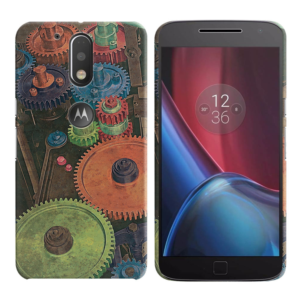 Motorola Moto G4/ G4 Plus 5.5 inch XT1625 XT1644 Vintage Colorful Gears Back Cover Case