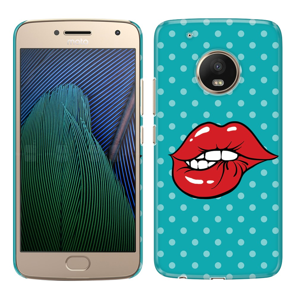 Motorola Moto G5 Plus 5.2 inch Pop Art Biting Lips Back Cover Case