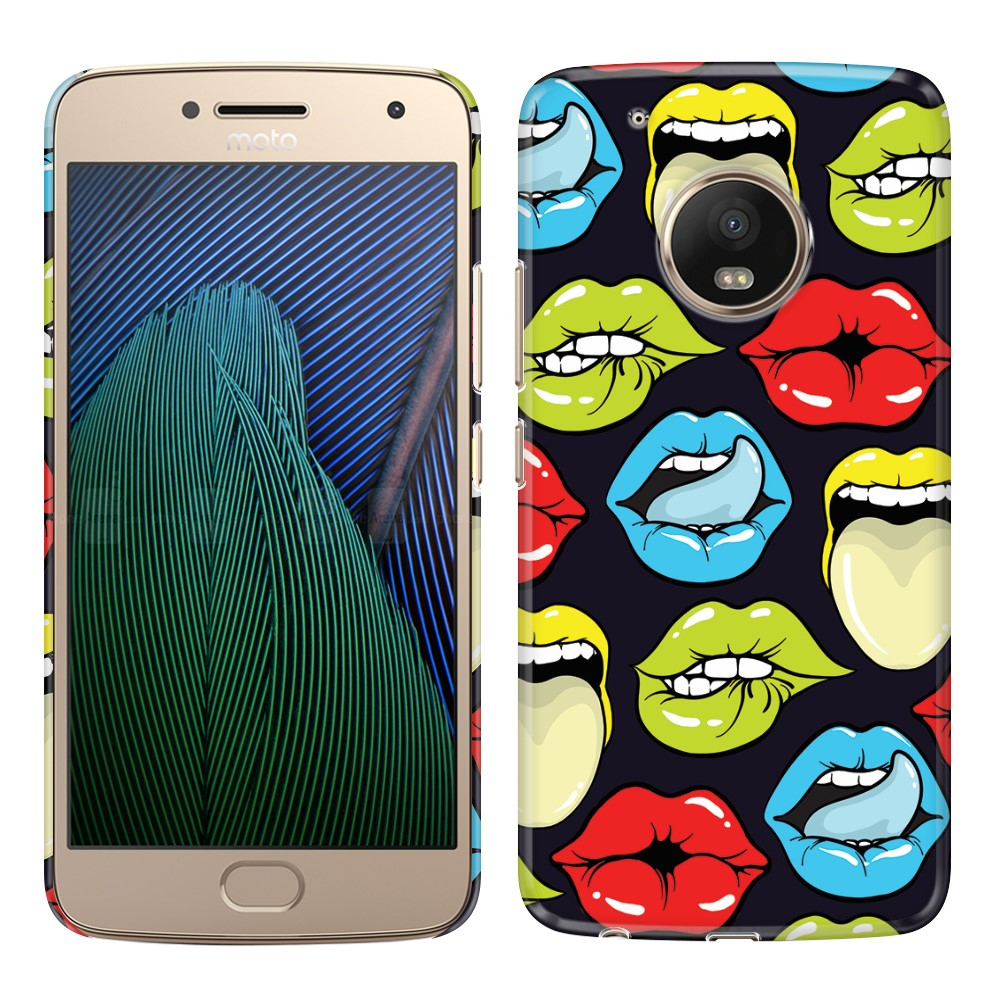 Motorola Moto G5 Plus 5.2 inch Pop Art Colored Lips Back Cover Case