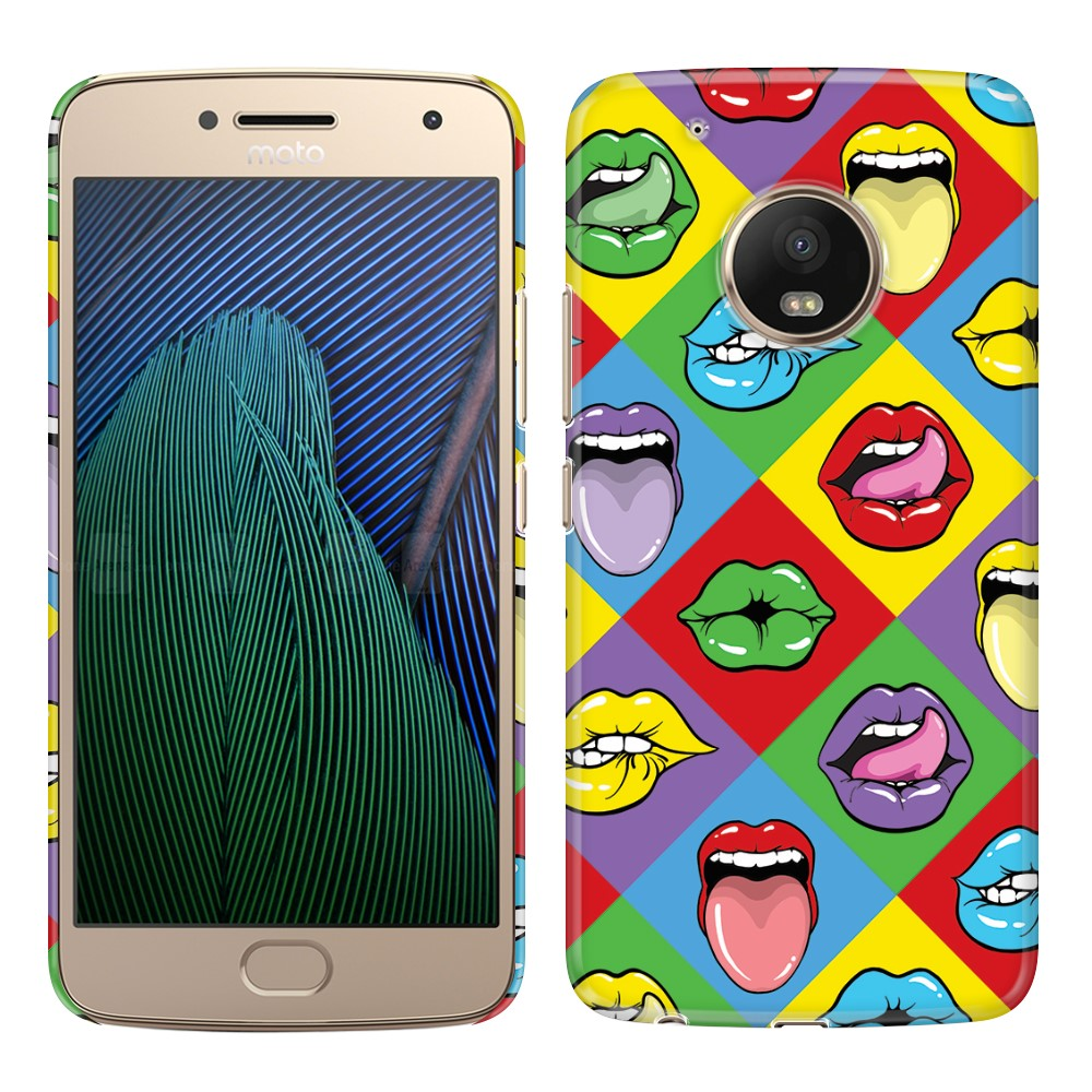 Motorola Moto G5 Plus 5.2 inch Pop Art Colored Square Lips Back Cover Case