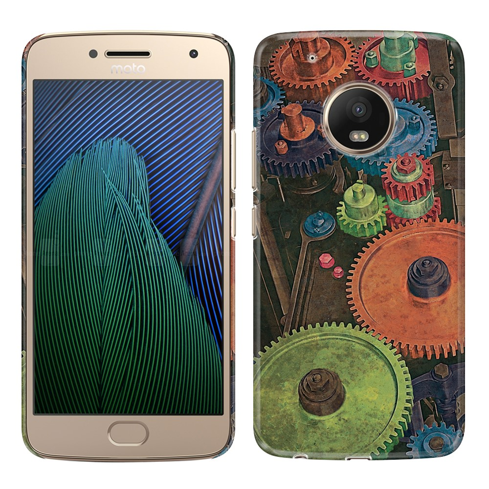 Motorola Moto G5 Plus 5.2 inch Vintage Colorful Gears Back Cover Case