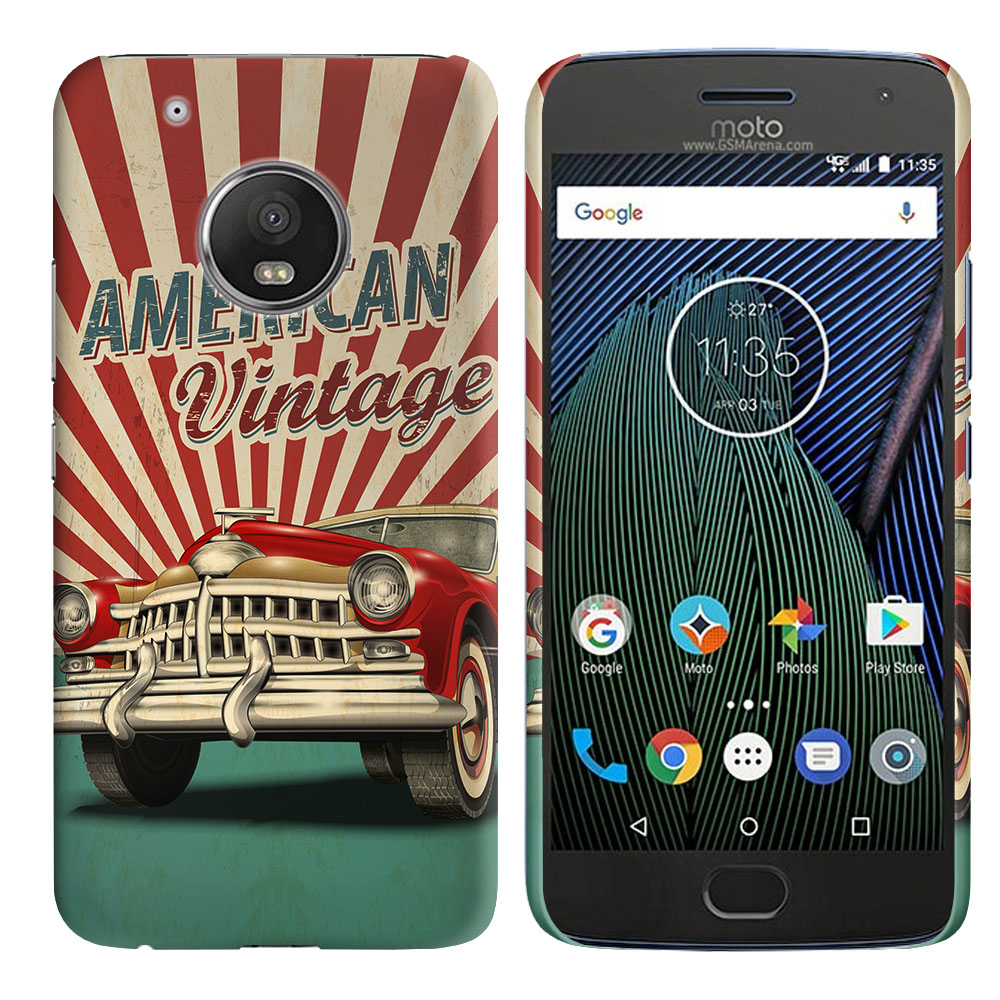 Motorola Moto G5 Plus 5.2 inch American Vintage Retro Car Back Cover Case