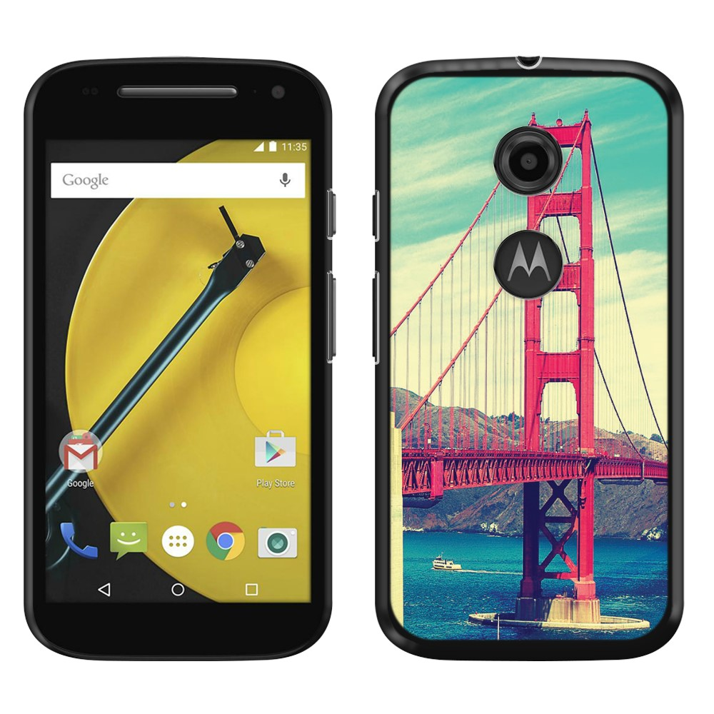 Motorola Moto E LTE 2nd Gen 2015 Vintage Retro Golden Gate Bridge SLIM FIT Back Cover Case