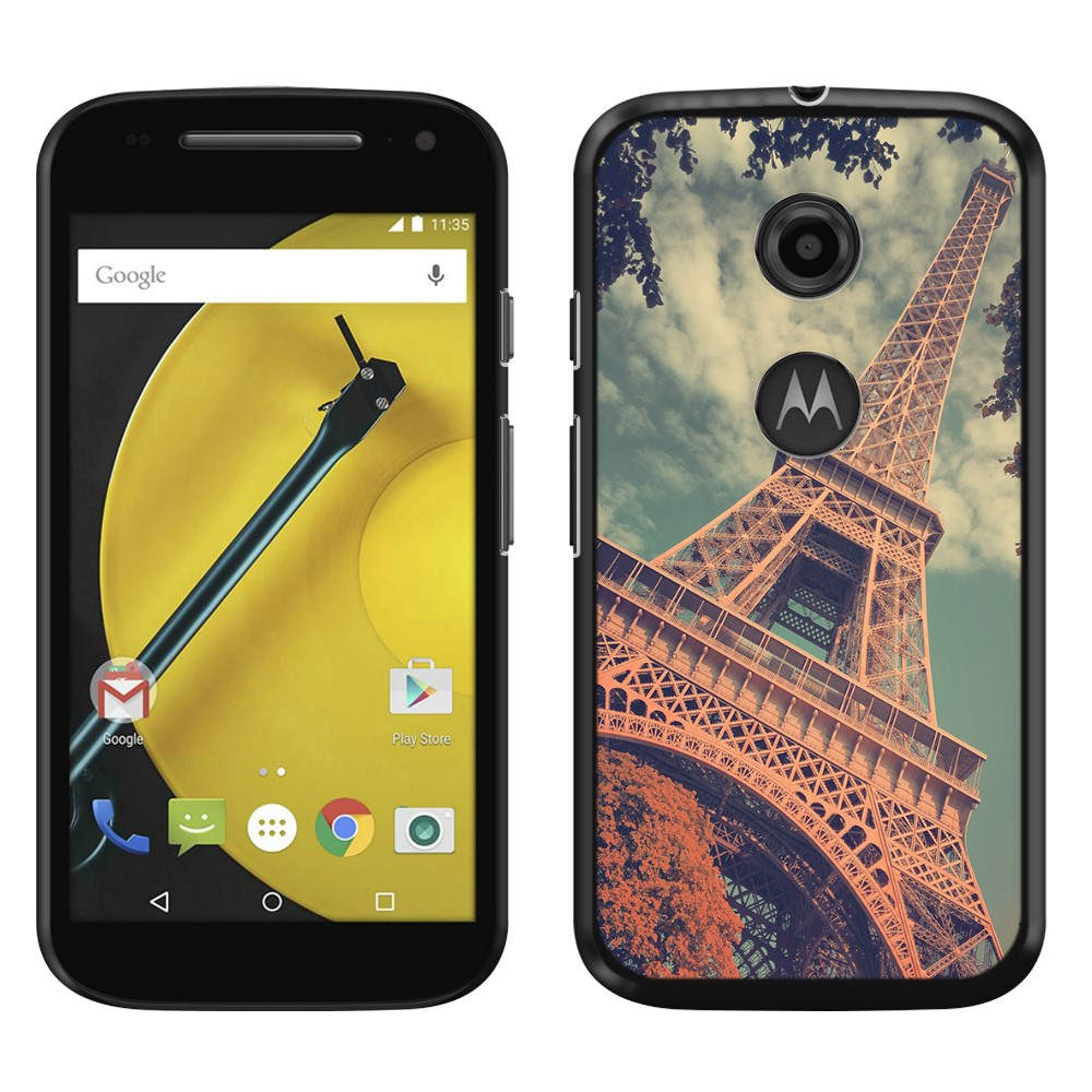 Motorola Moto E LTE 2nd Gen 2015 Vintage Retro Paris Eiffel Tower SLIM FIT Back Cover Case