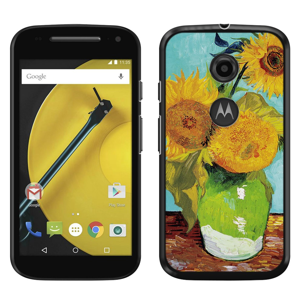 Motorola Moto E LTE 2nd Gen 2015 Sunflowers Blue By Van Gogh Back Cover Case