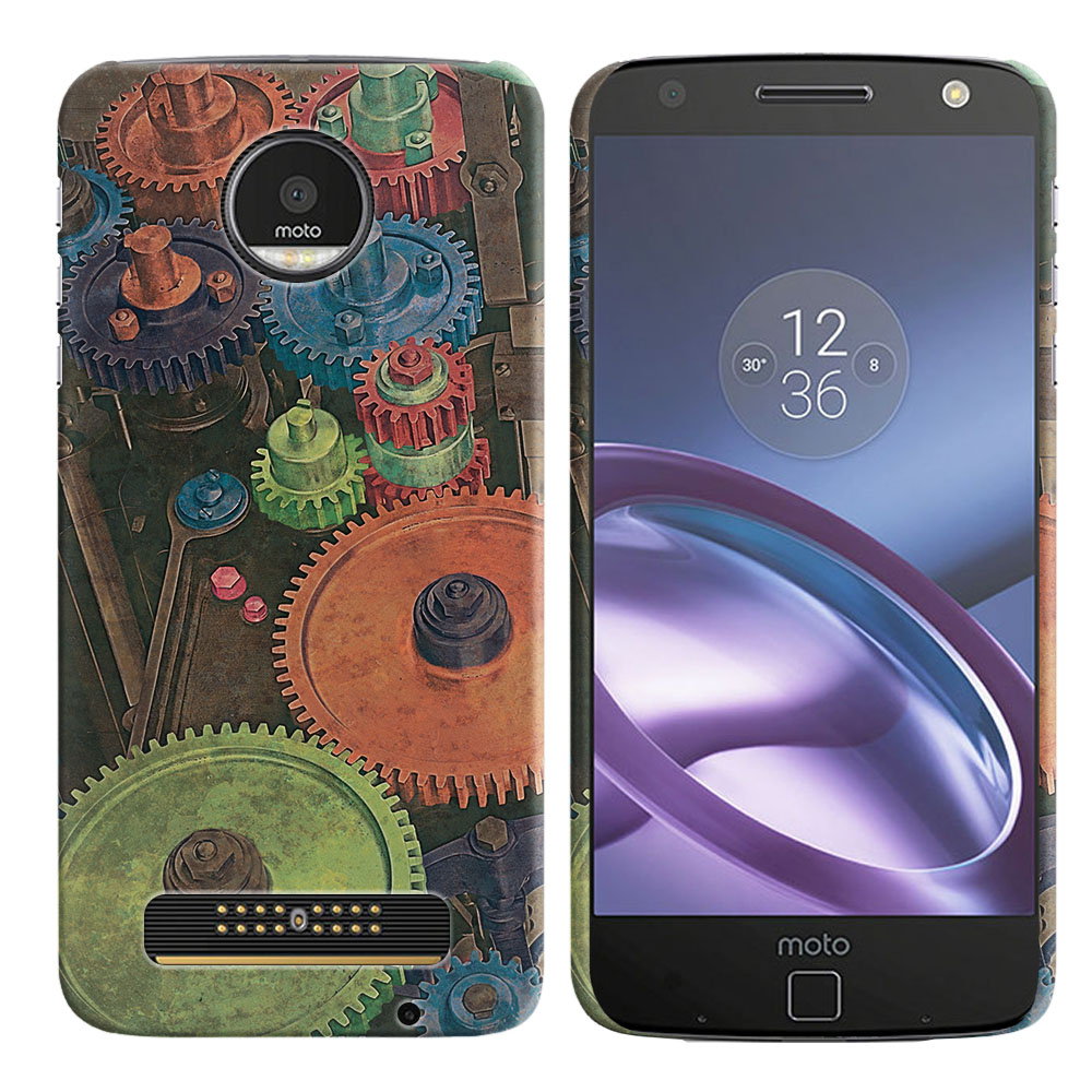 Motorola Moto Z Droid Edition Vintage Colorful Gears Back Cover Case