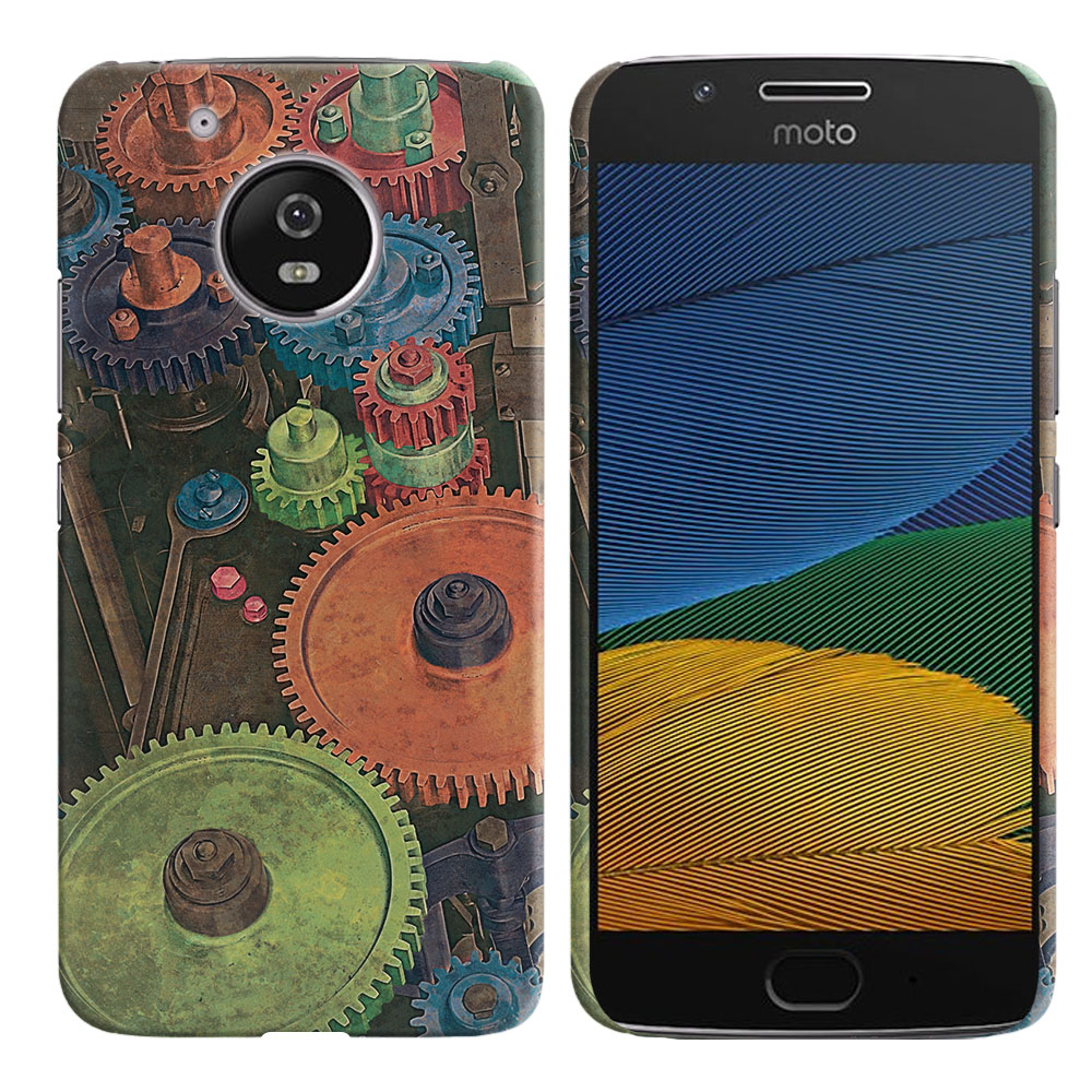 Motorola Moto G5 5 inch Vintage Colorful Gears Back Cover Case