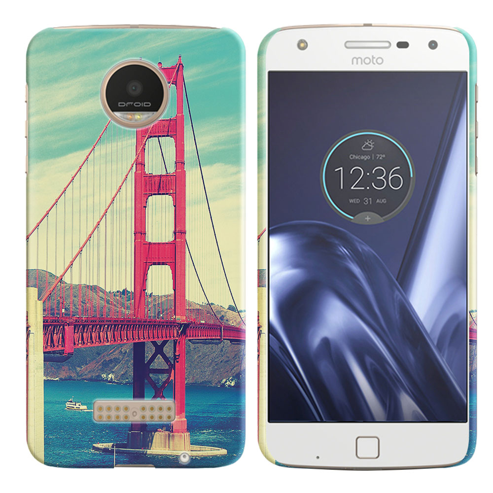 Motorola Moto Z Play Droid XT1635 Vintage Retro Golden Gate Bridge Back Cover Case