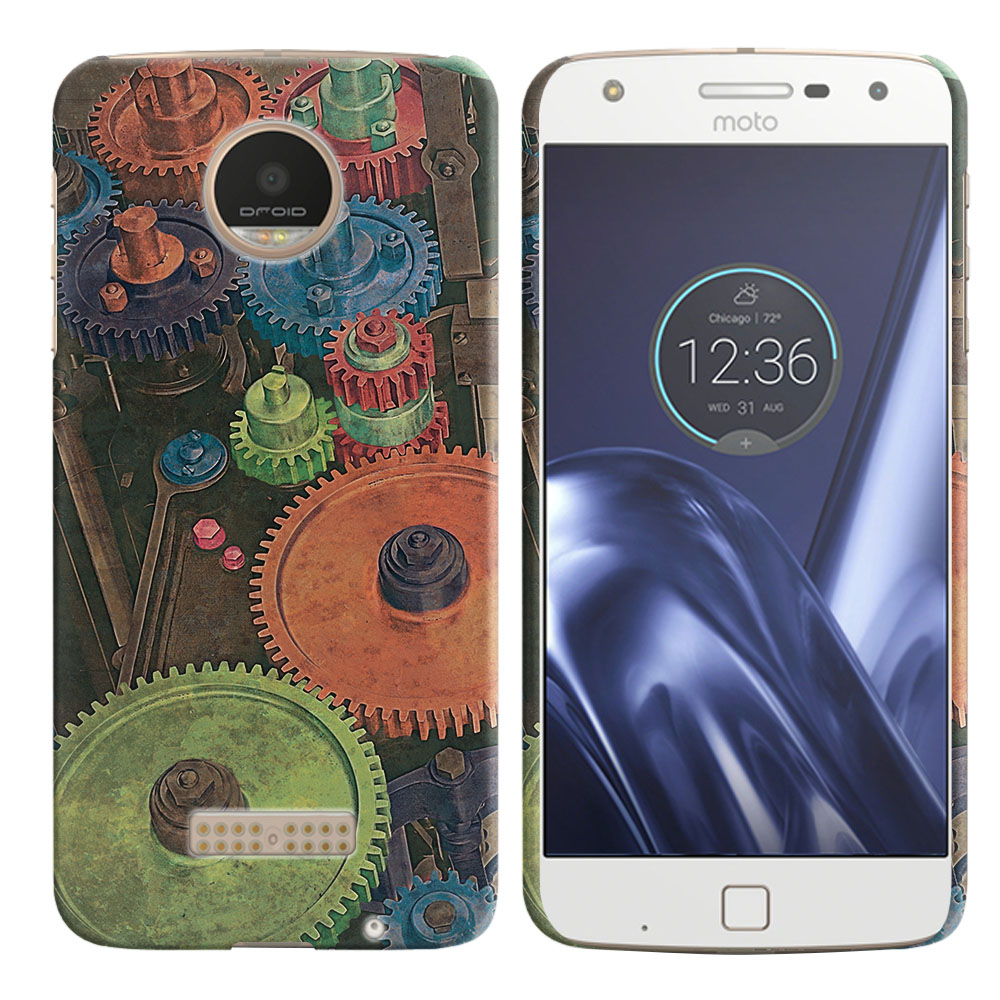 Motorola Moto Z Play Droid XT1635 Vintage Colorful Gears Back Cover Case