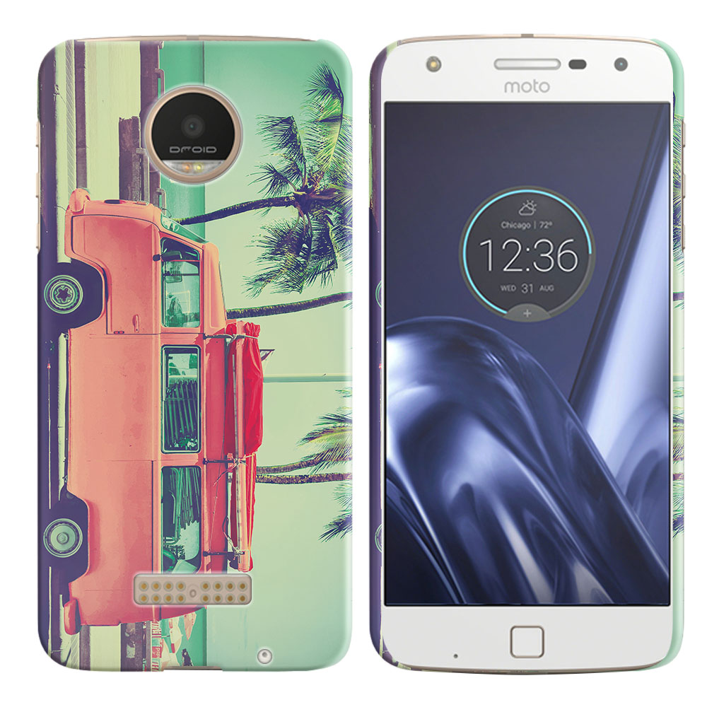 Motorola Moto Z Play Droid XT1635 Vintage Retro Beach Car Back Cover Case