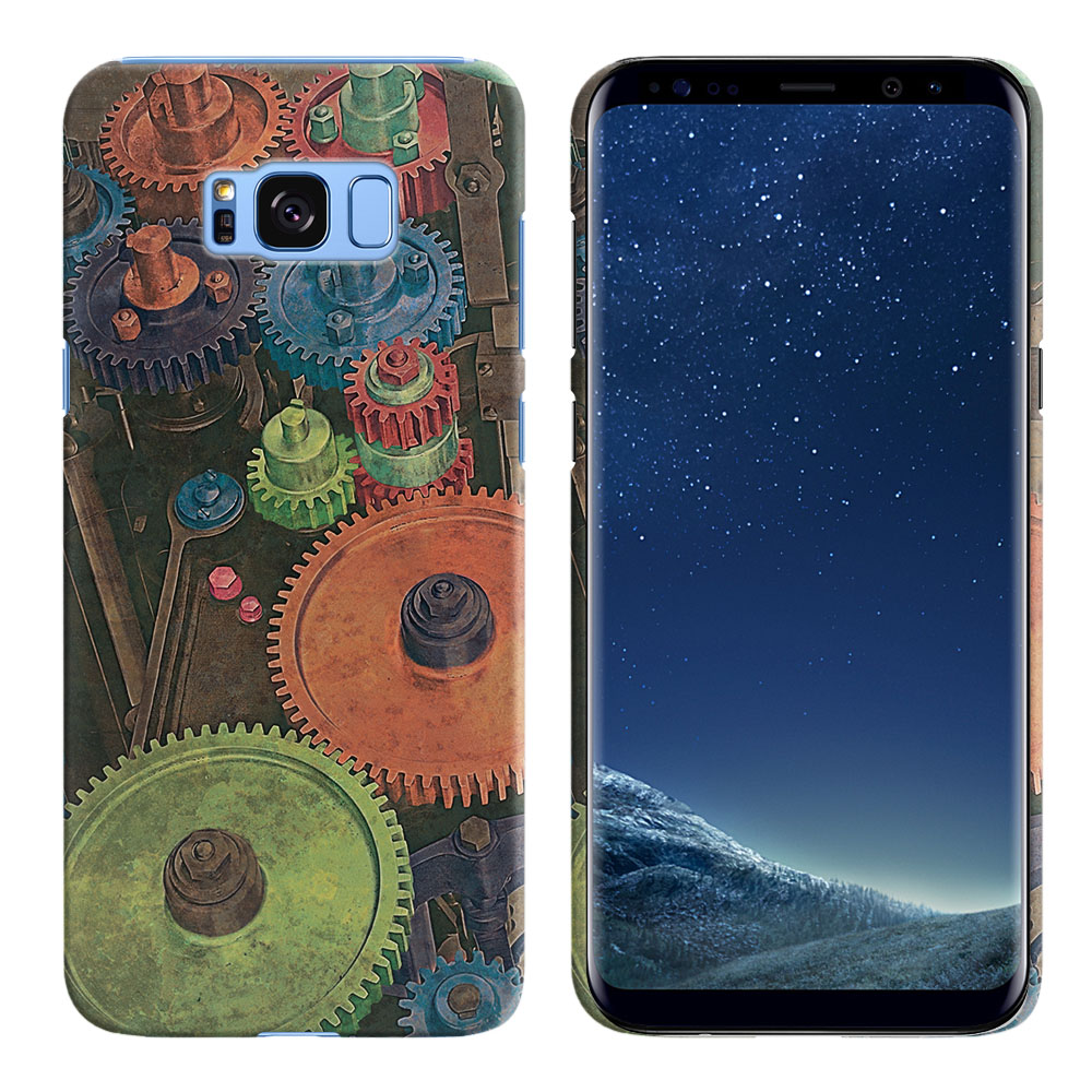 Samsung Galaxy S8 G950 Vintage Colorful Gears Back Cover Case