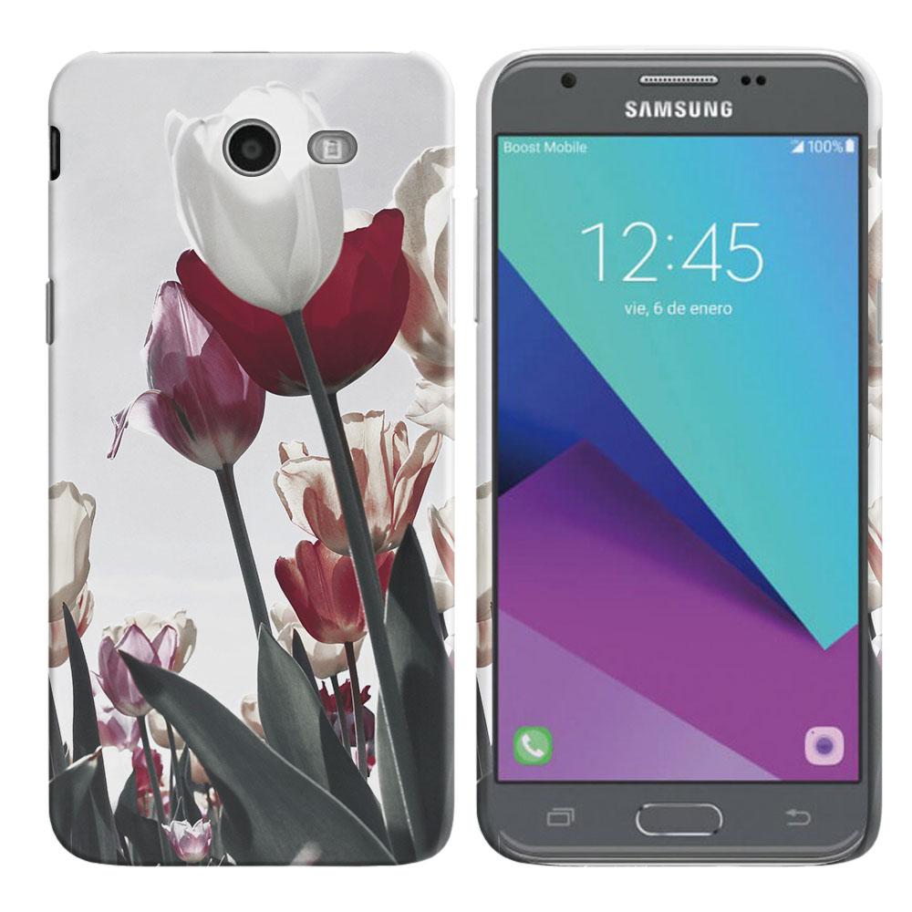 Samsung Galaxy J3 J327 2017 2nd Gen Galaxy J3 Emerge Vintage Retro Red White Tulips Back Cover Case