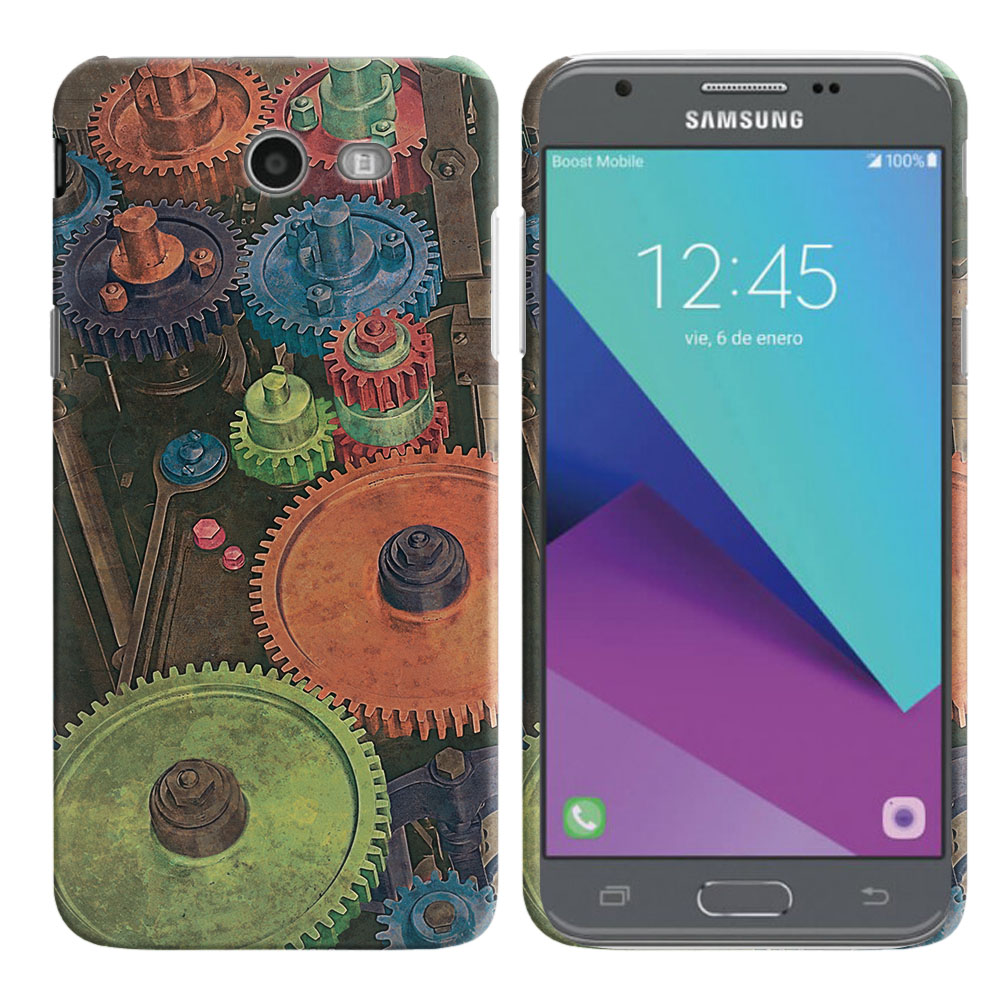 Samsung Galaxy J3 J327 2017 2nd Gen Galaxy J3 Emerge Vintage Colorful Gears Back Cover Case