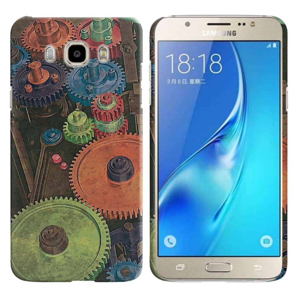 Samsung Galaxy J7 J710 2nd Gen 2016 Vintage Colorful Gears Back Cover Case