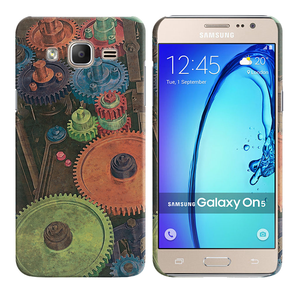 Samsung Galaxy On5 G550 G500 Vintage Colorful Gears Back Cover Case