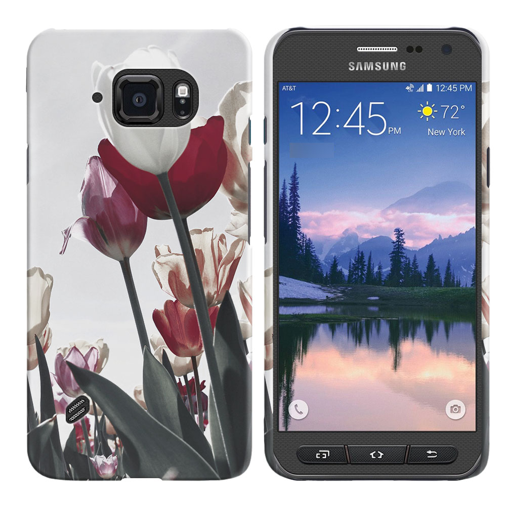Samsung Galaxy S6 Active G890 Vintage Retro Red White Tulips Back Cover Case