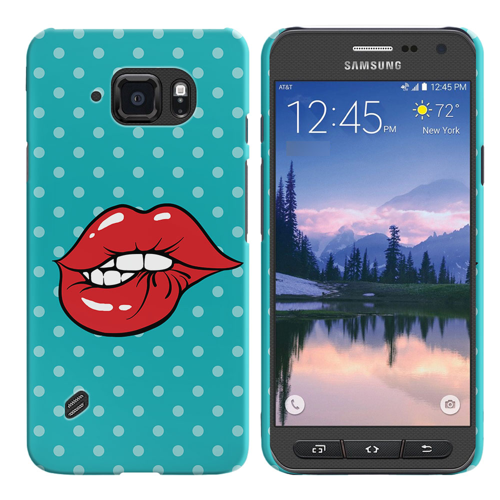Samsung Galaxy S6 Active G890 Pop Art Biting Lips Back Cover Case
