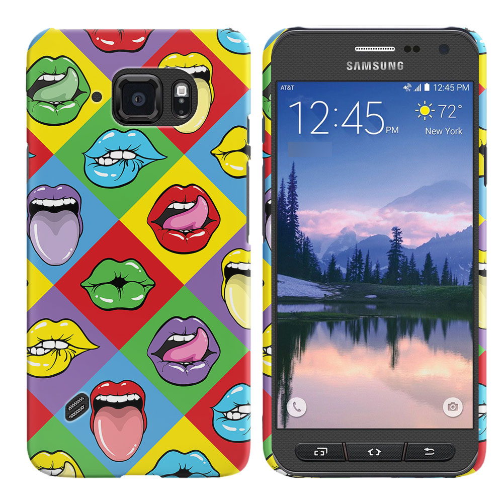 Samsung Galaxy S6 Active G890 Pop Art Colored Square Lips Back Cover Case