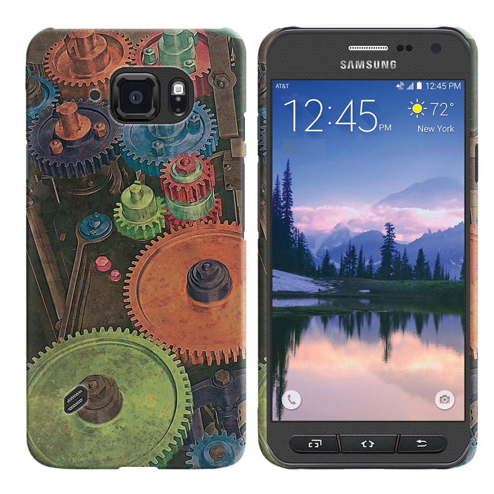 Samsung Galaxy S6 Active G890 Vintage Colorful Gears Back Cover Case