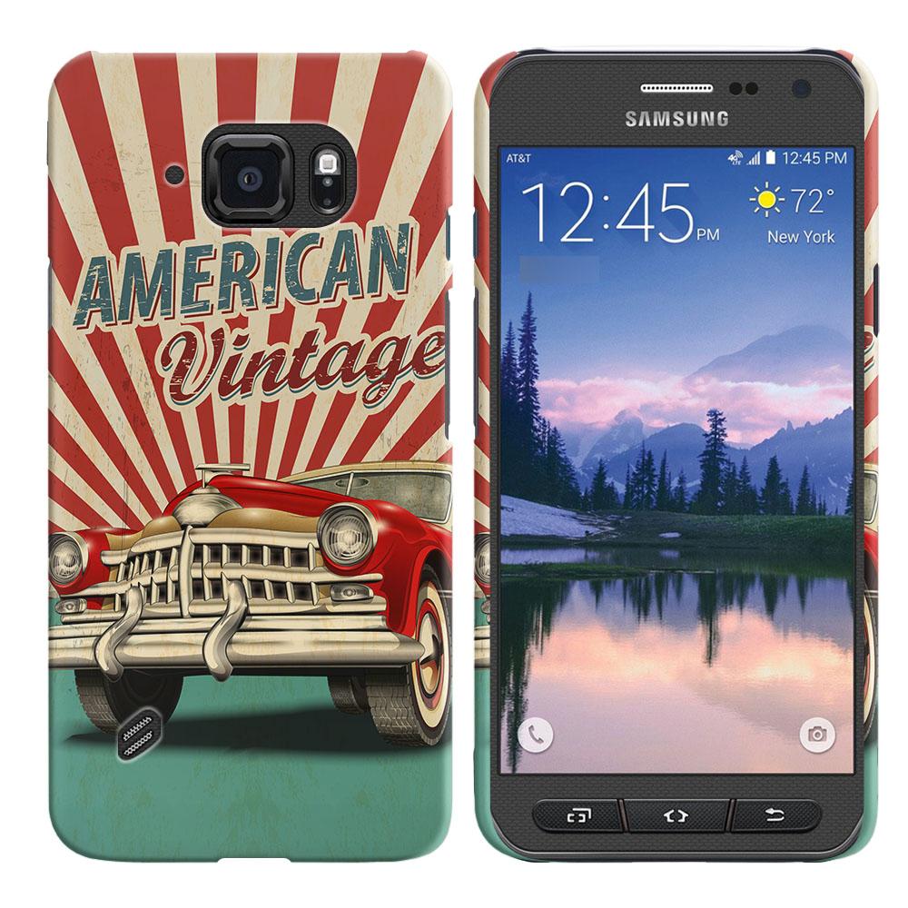 Samsung Galaxy S6 Active G890 American Vintage Retro Car Back Cover Case