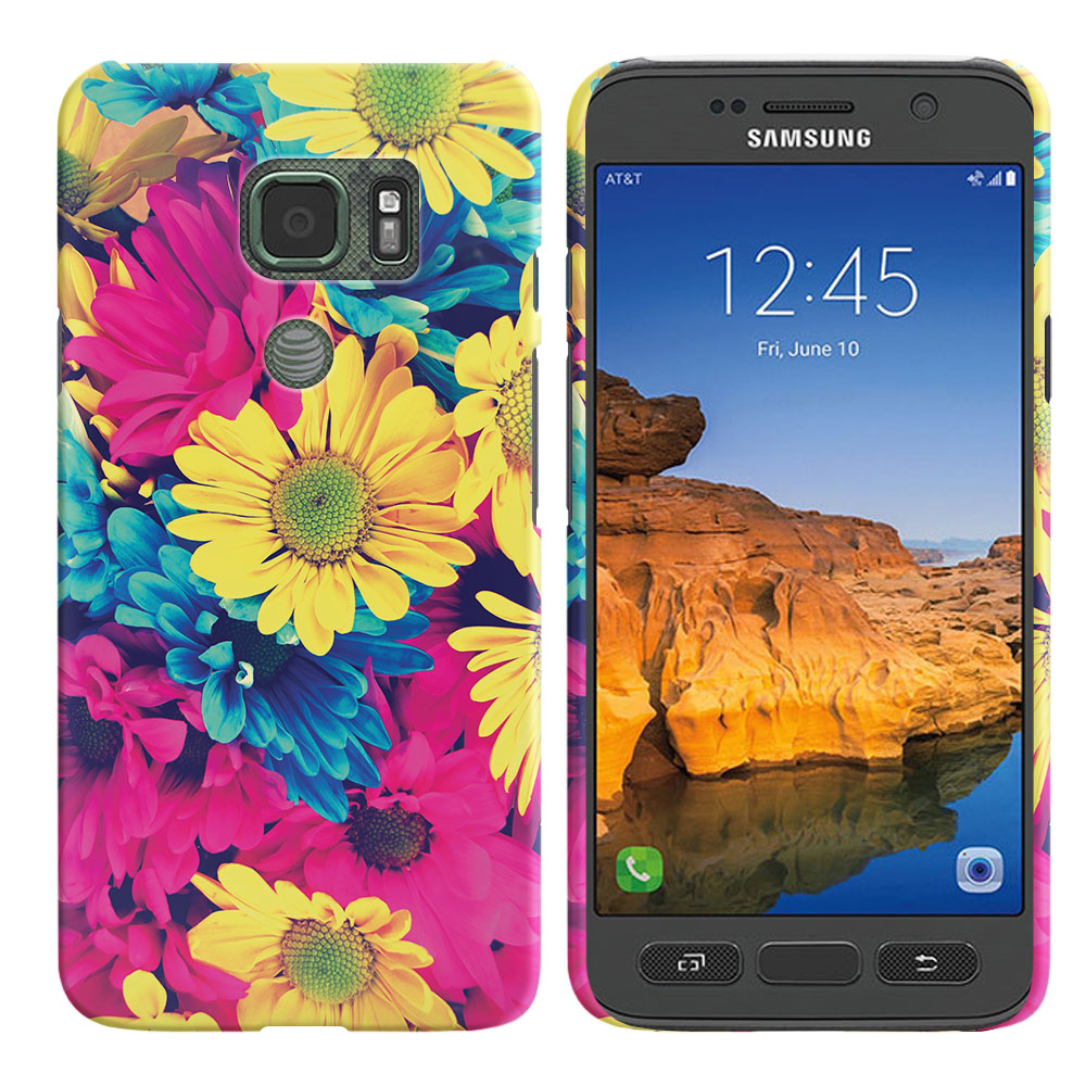 Samsung Galaxy S7 Active G891 Vintage Retro Colorful Daisy Flowers Back Cover Case