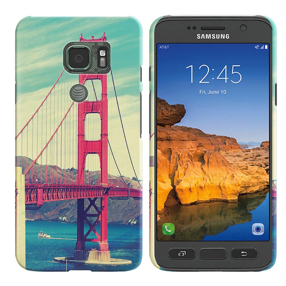 Samsung Galaxy S7 Active G891 Vintage Retro Golden Gate Bridge Back Cover Case