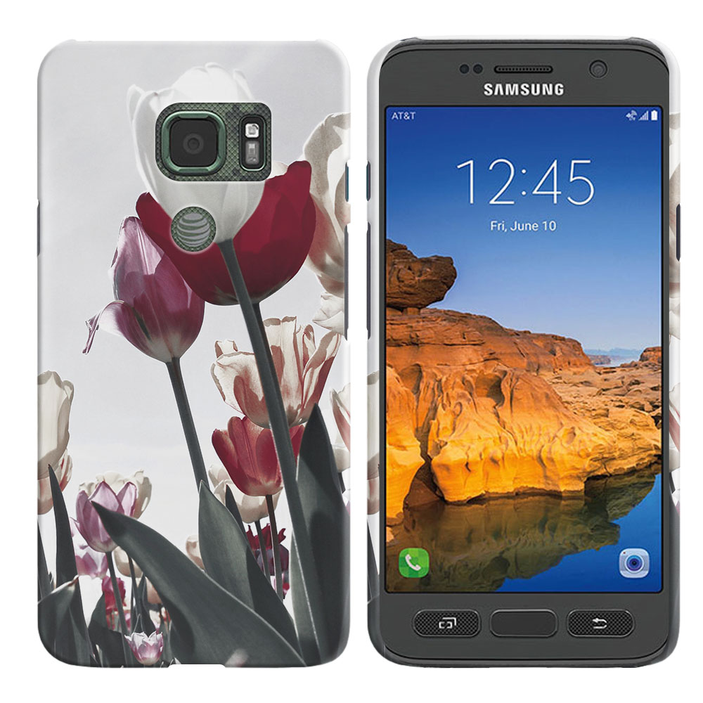Samsung Galaxy S7 Active G891 Vintage Retro Red White Tulips Back Cover Case