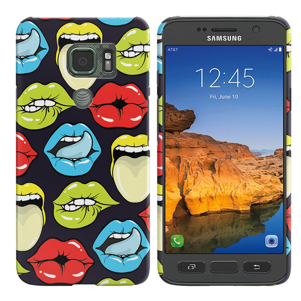 Samsung Galaxy S7 Active G891 Pop Art Colored Lips Back Cover Case