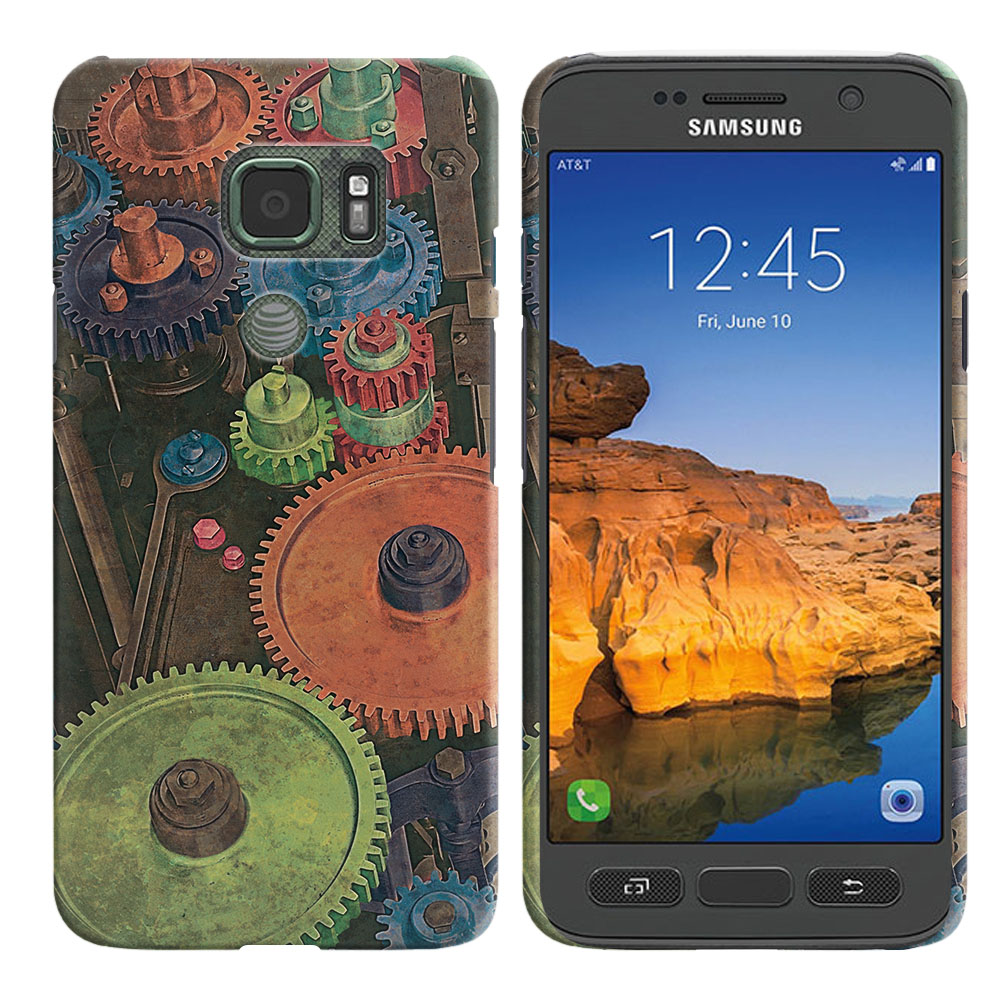 Samsung Galaxy S7 Active G891 Vintage Colorful Gears Back Cover Case