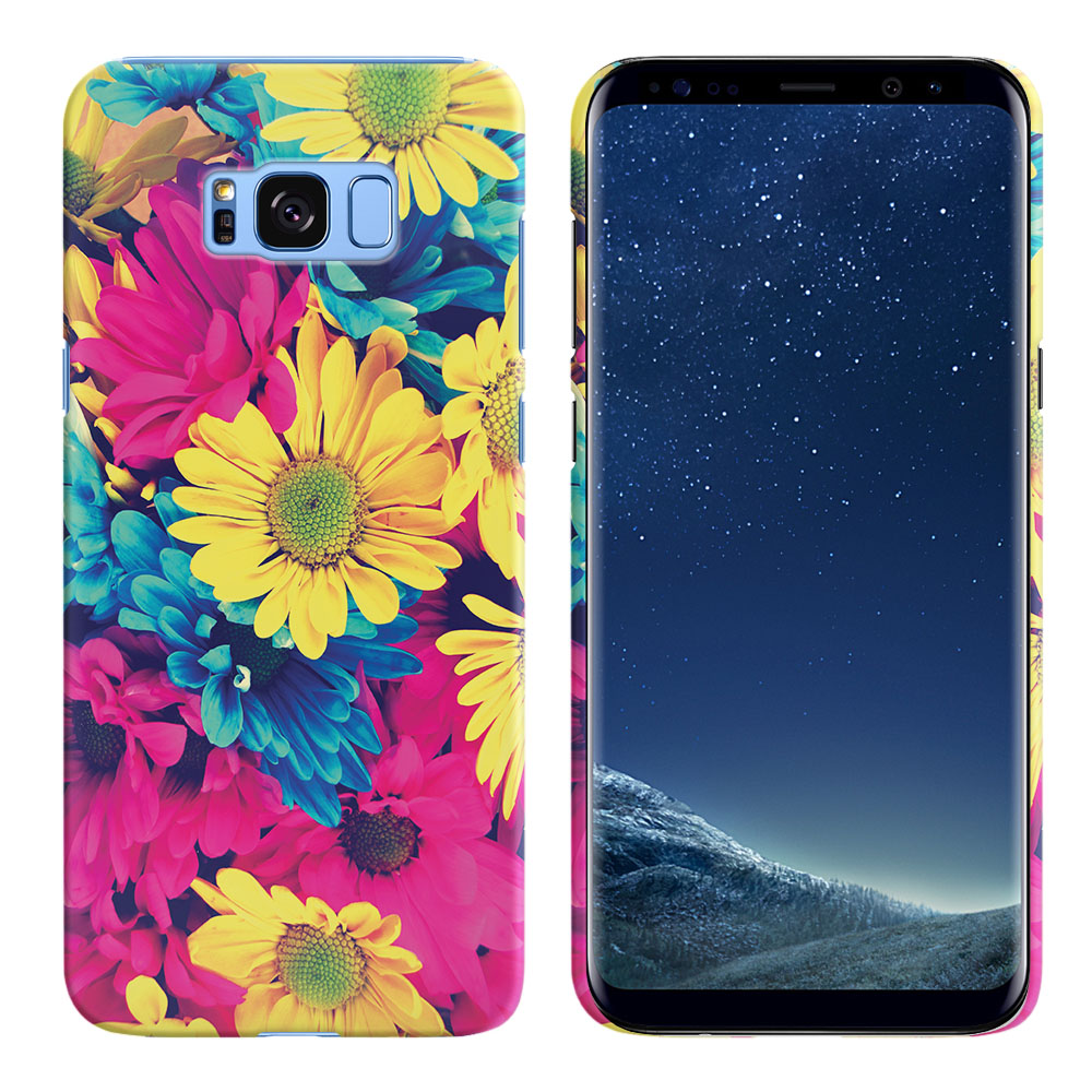 Samsung Galaxy S8  Plus G955 Vintage Retro Colorful Daisy Flowers Back Cover Case