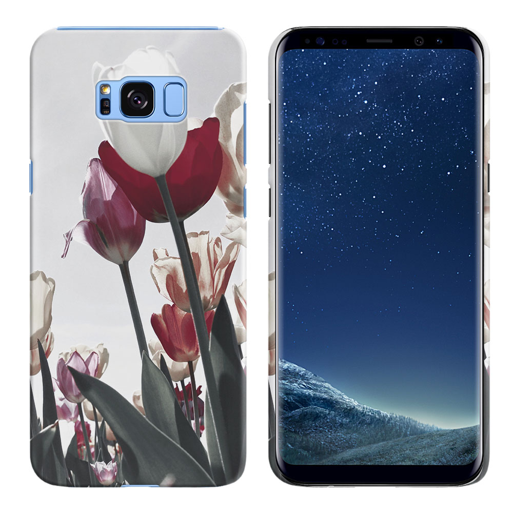 Samsung Galaxy S8  Plus G955 Vintage Retro Red White Tulips Back Cover Case