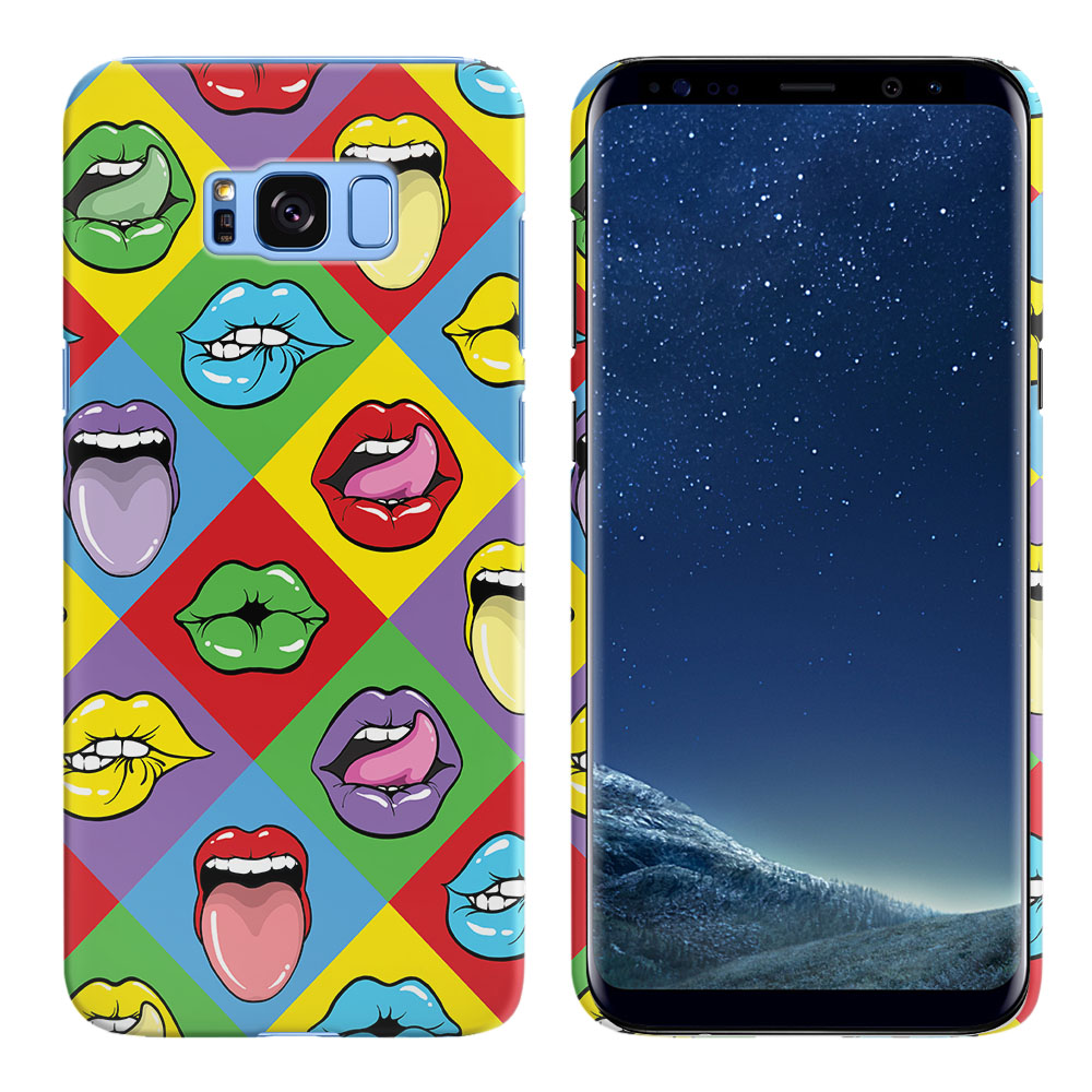 Samsung Galaxy S8  Plus G955 Pop Art Colored Square Lips Back Cover Case