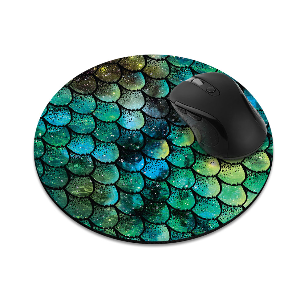 Green Mermaid Scales Round Mousepad