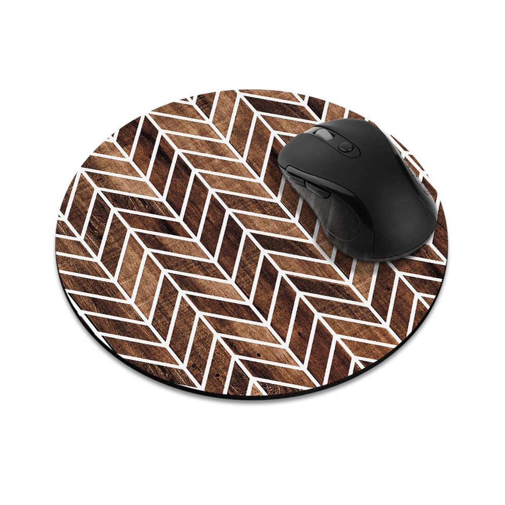 Modern Chevron Wood Round Mousepad