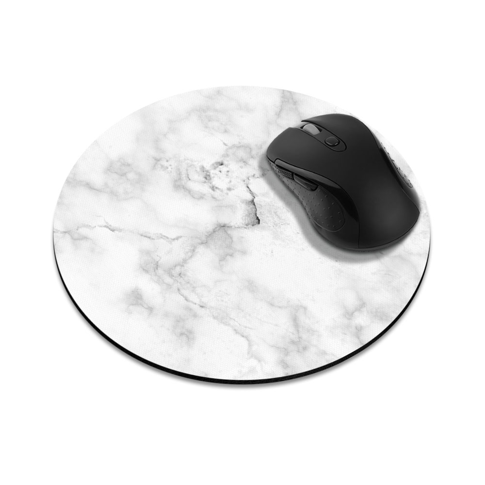 Grey Cloudy Marble Round Mousepad