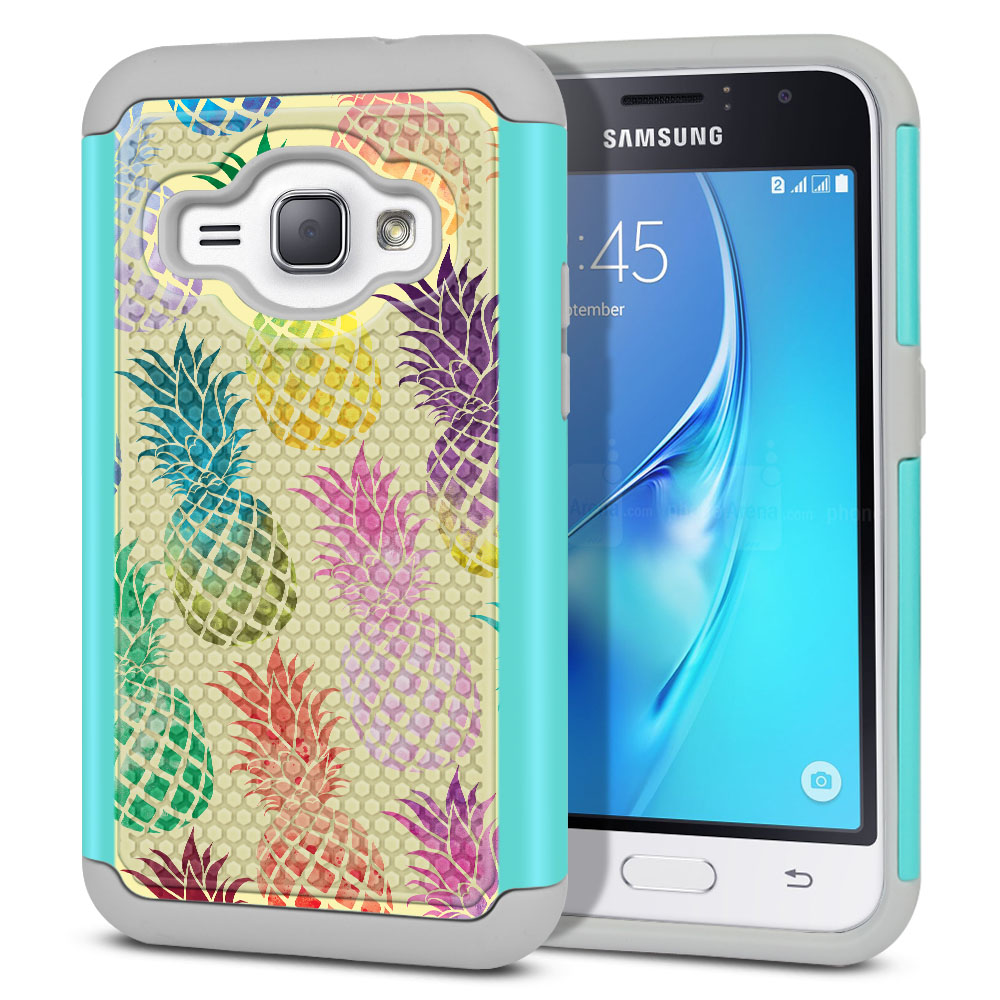 Samsung Galaxy J1 J120 2nd Gen 2016-Samsung Galaxy AMP 2 2nd Gen 2016-Samsung Galaxy Express 3-Samsung Galaxy Luna S120 Hybrid Football Skin Pastel Colorful Pineapple Yellow Pastel Protector Cover Case
