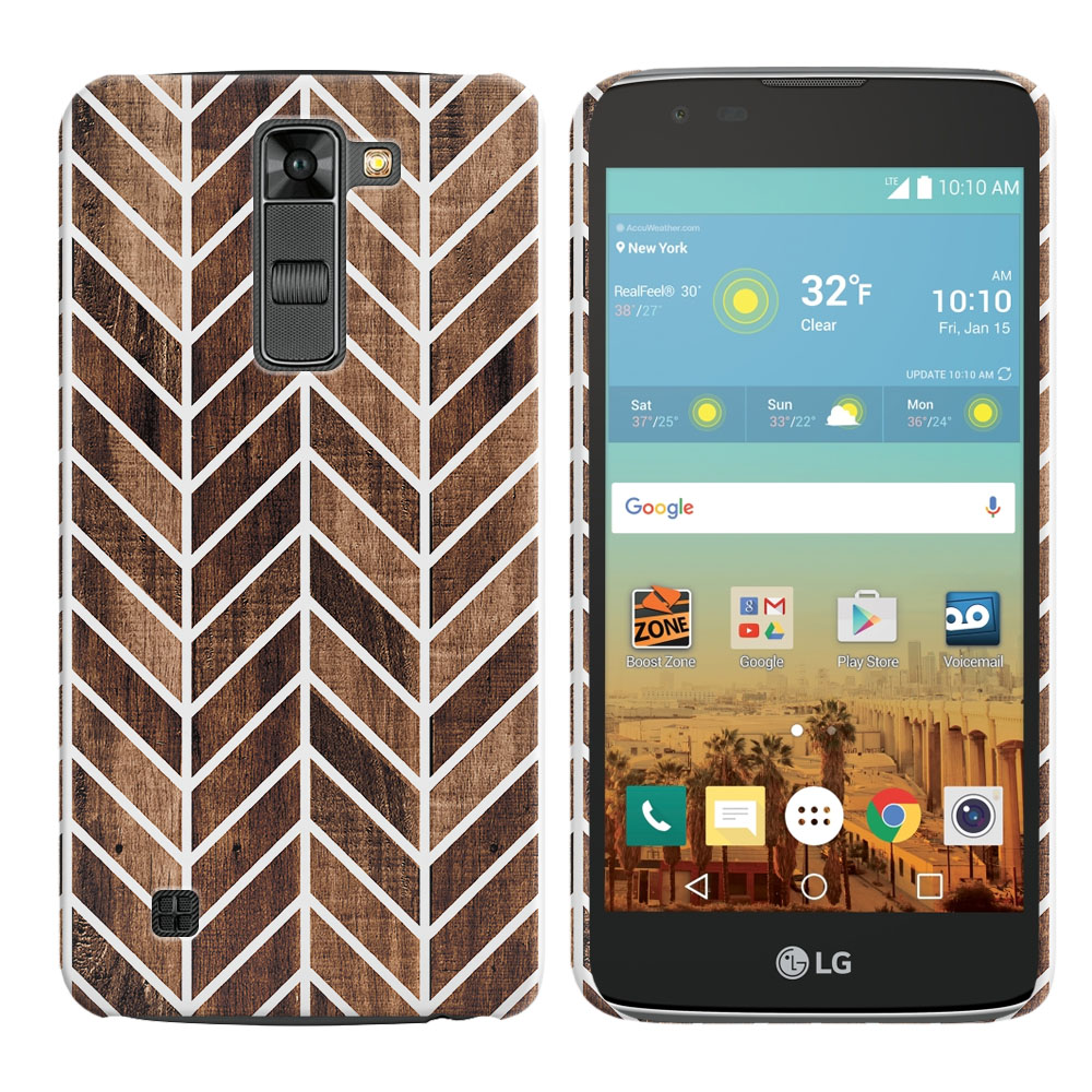 LG K7 Tribute 5 LS675 MS330-LG M1-LG Treasure L51AL L51VL L52AL L52VL Wood Chevron Back Cover Case