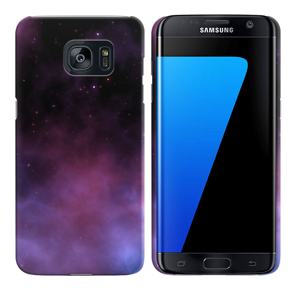 Samsung Galaxy S7 Edge G935 Purple Space Stars Back Cover Case